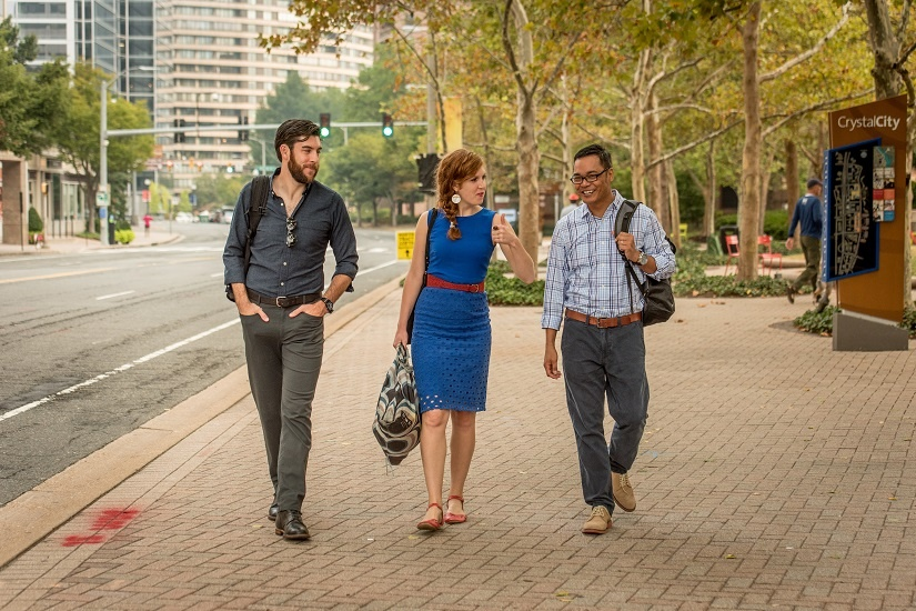 two-guys-one-girl-crystal-city-walking