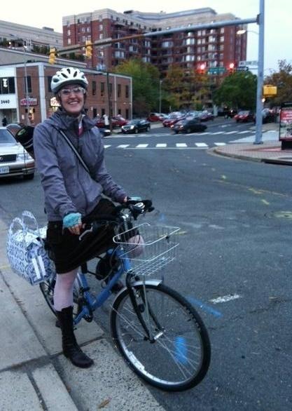 Elizabeth on her bike
