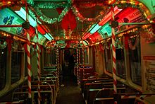 Interior of CTA holiday train