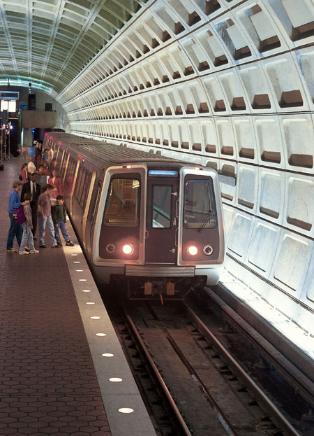 Riders boarding Metro
