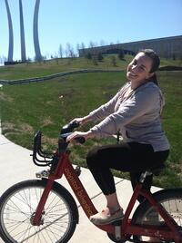 Woman on Bikeshare bike, My roommate Lauren's first CaBi ride