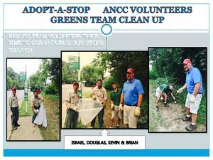ANCC's green team takes their turn maintaining their bus stop