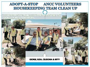 ANCC's housekeeping team takes their turn maintaining their bus stop