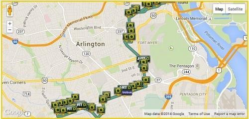 ART 45 bus route, Arlington County