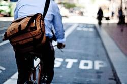 Bike Commuter Using Bike Lane