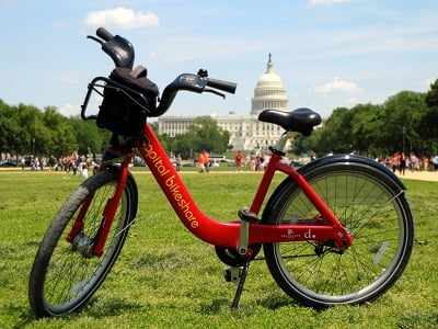 Capital Bikshare on the DC lawn, Capitol