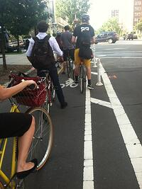 Bike commuters at rush hour in DC