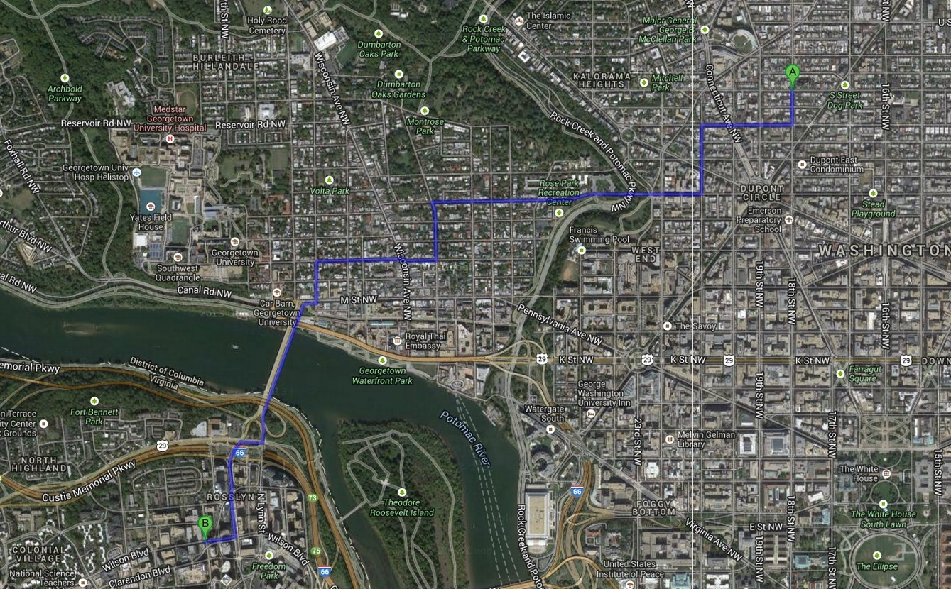Brett Jone's daily bike route