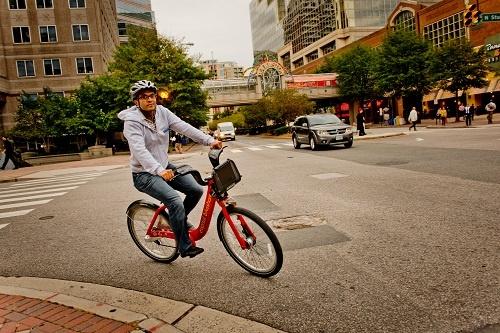 Capital Bikeshare rider in Ballston, Arlington