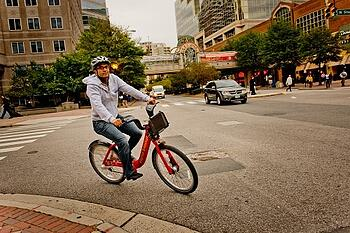 Capital Bikeshare rider in Ballston, Arlington