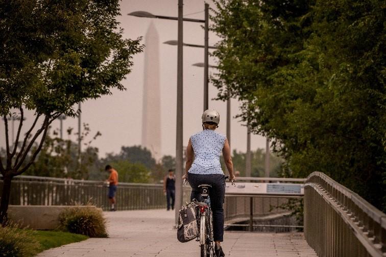 Elizabeth riding bike