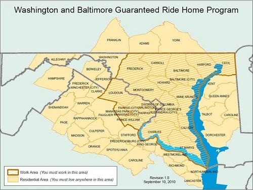 Guaranteed Ride Home Service Areas