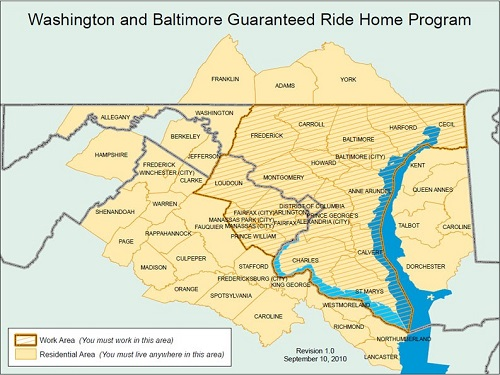 Guaranteed Ride Home Service Areas