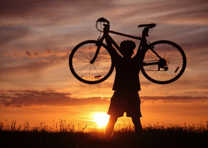 Sunset shadow image of biker