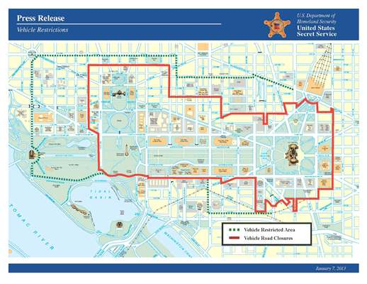 Vehicle Restriction Map for Inauguration