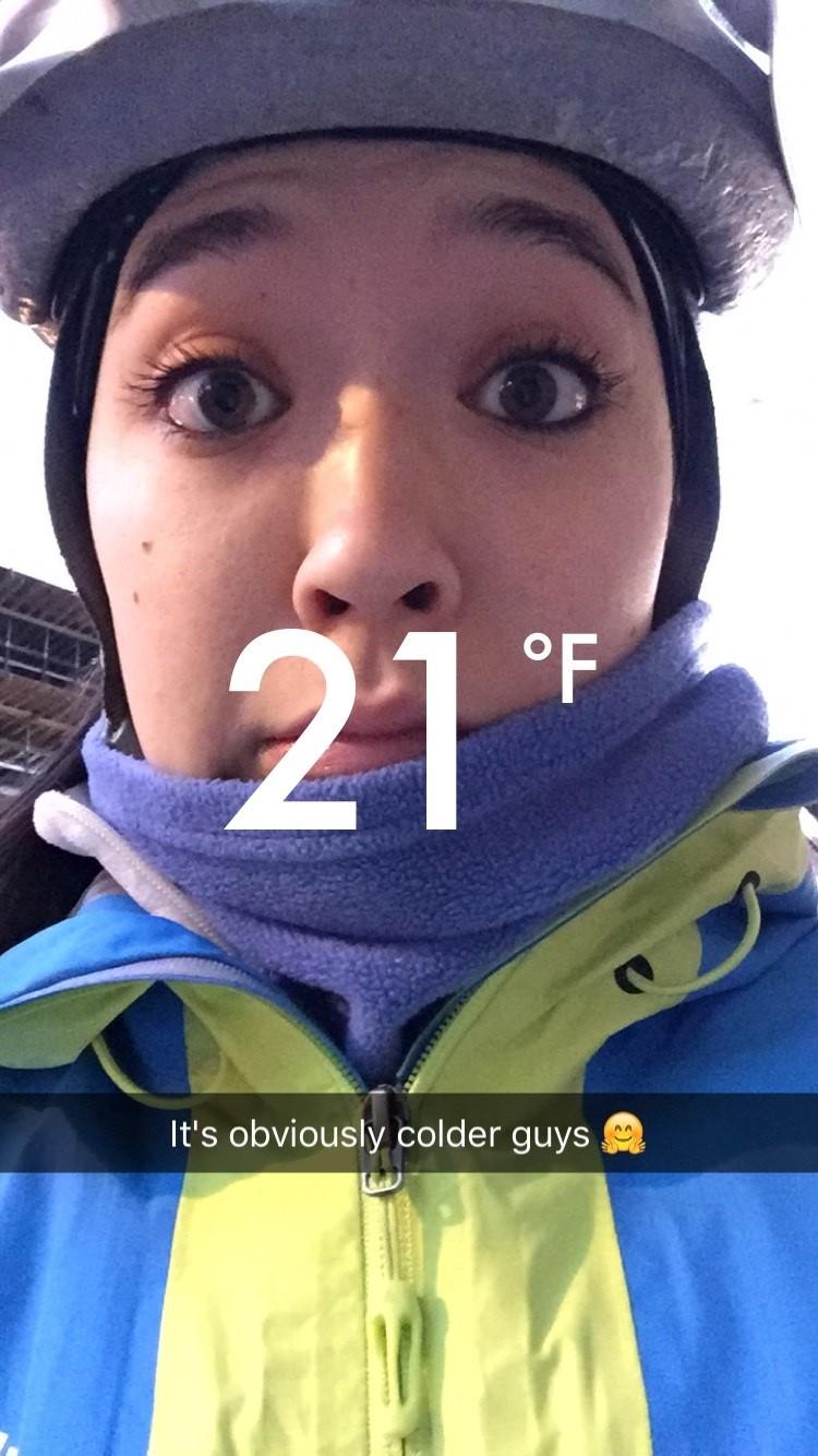 Snapchat of Keara biking in the cold