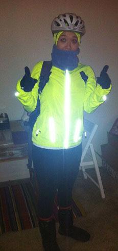 Keara, biking to work in reflective gear