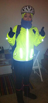 Keara, biking to work in reflective gear