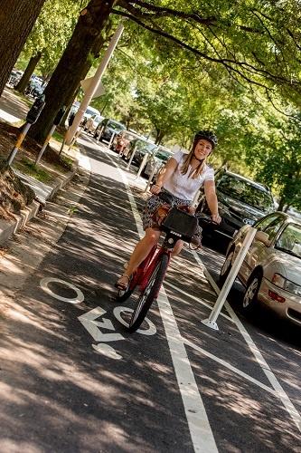 Model, biking to work