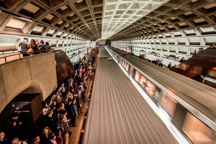 Metro trains, Commuters on platforms, Arlington, Virginia