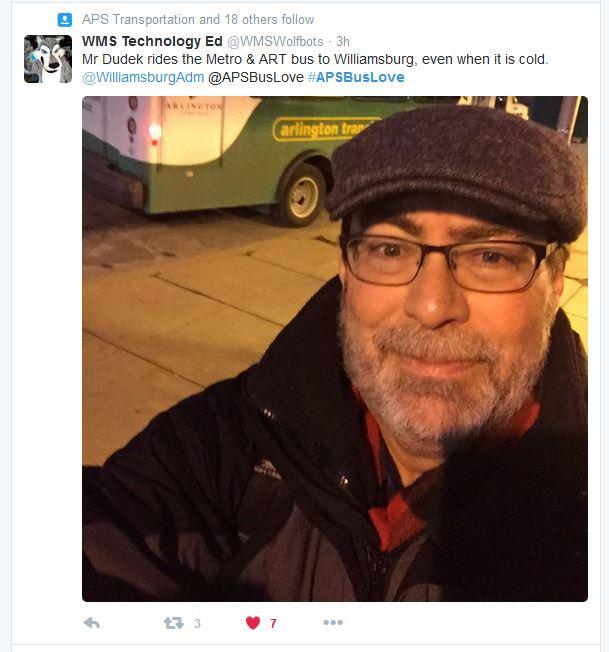 Tweet from teacher, Love the Bus Week