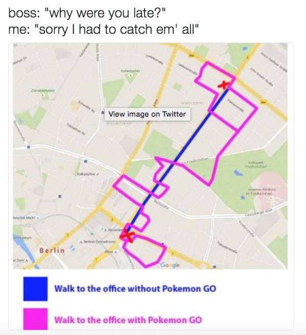 Map of pokemon detour while commuting