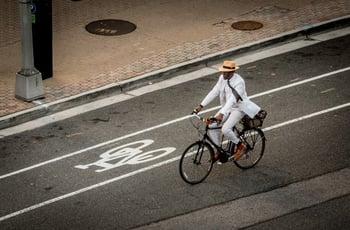 Employee, Businessman riding a bike, Arlington County
