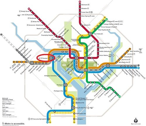 Metro Map with Rosslyn Station highlighted