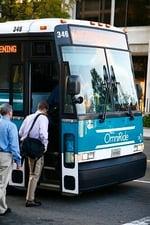 Passengers boarding bus