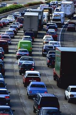 Traffic jam, single occupancy vehicles (SOV)