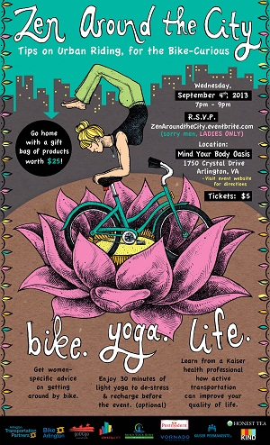 Zen Around the City poster, women, biking