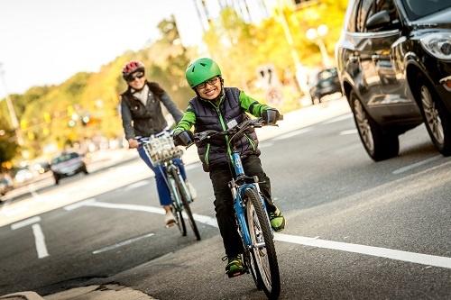 Family riding in bike lanes, Arlington County