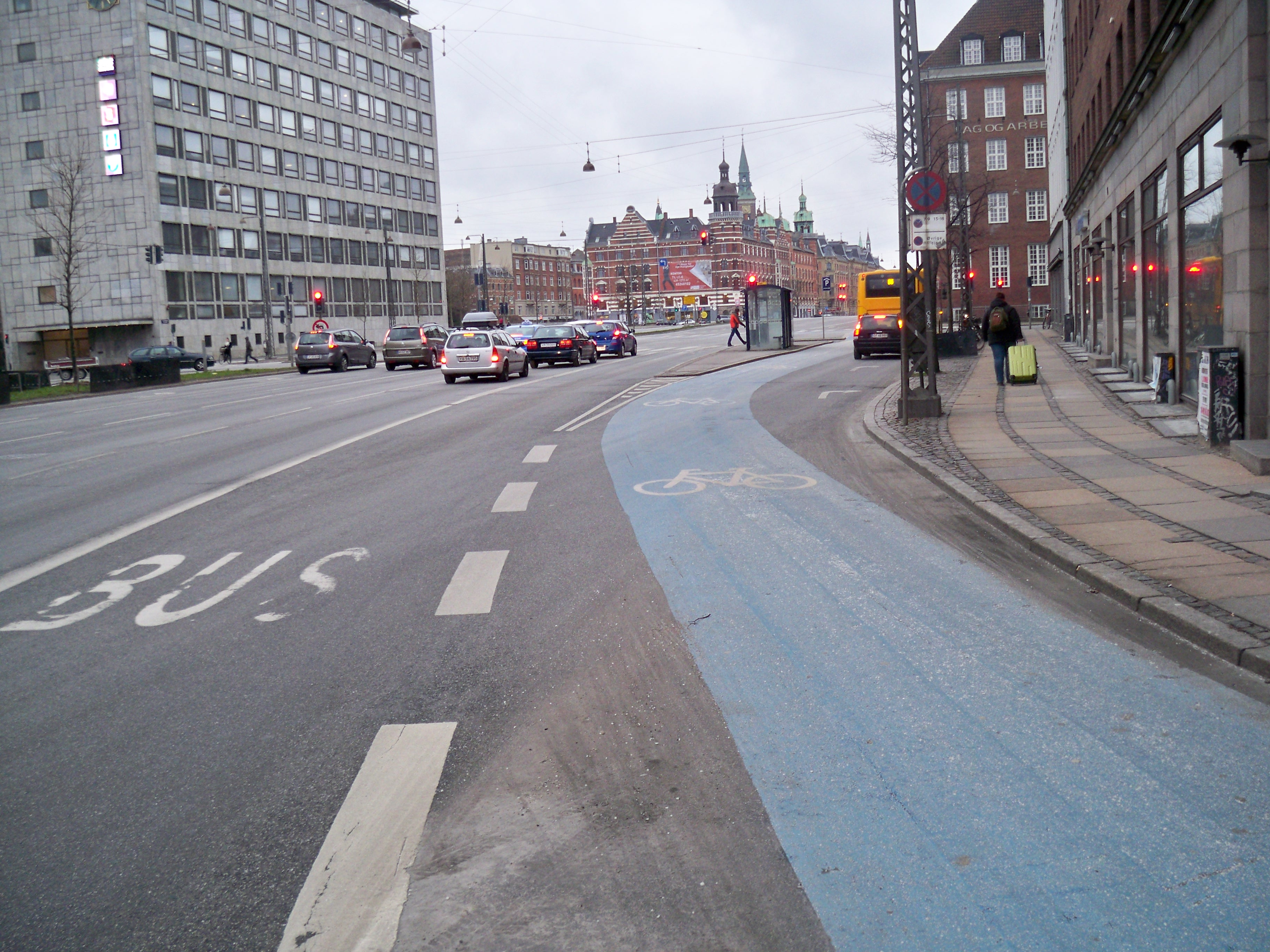 Bus lane and bike lane