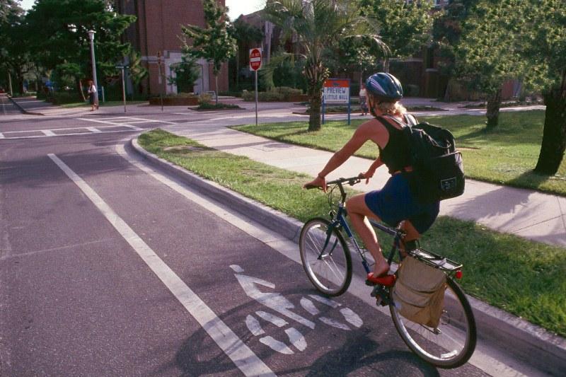Woman on Bike in Bike Lane