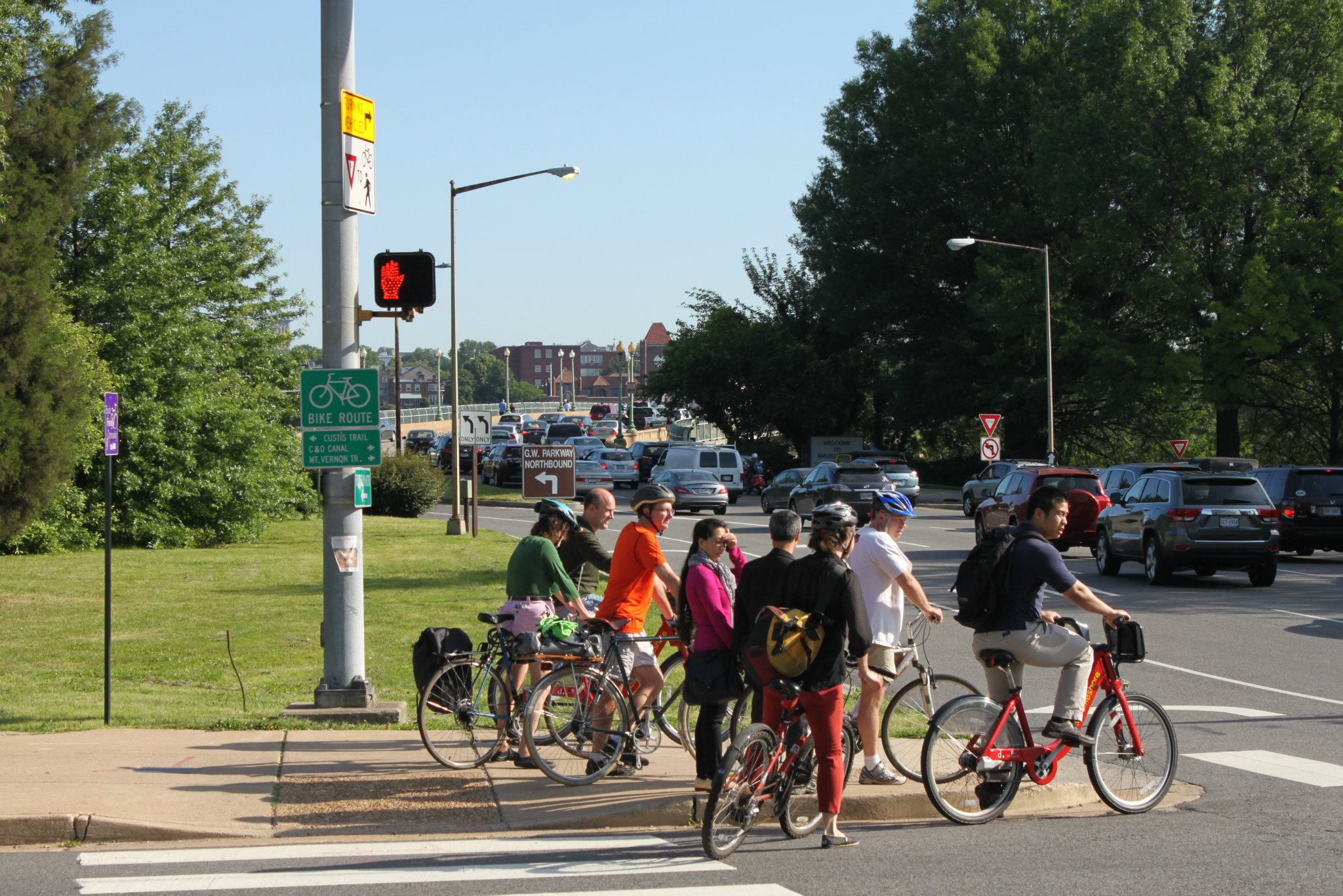 Cyclists with Bicycles