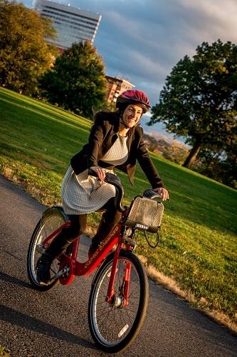 Capital Bikeshare Rider in Rosslyn, Arlington Virginia