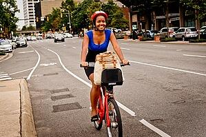 Girl Riding Capital Bikeshare