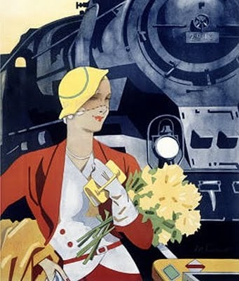 Graphic of Lady in front of Train