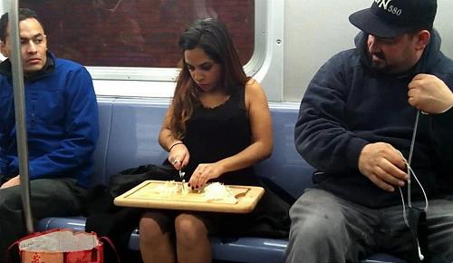 Metro Rider Cutting an Onion