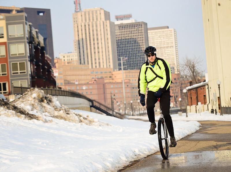 Unicycle through Winter Snow