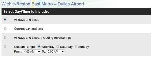 Wiehle-Reston East Metro to Dulles International Airport scheduler