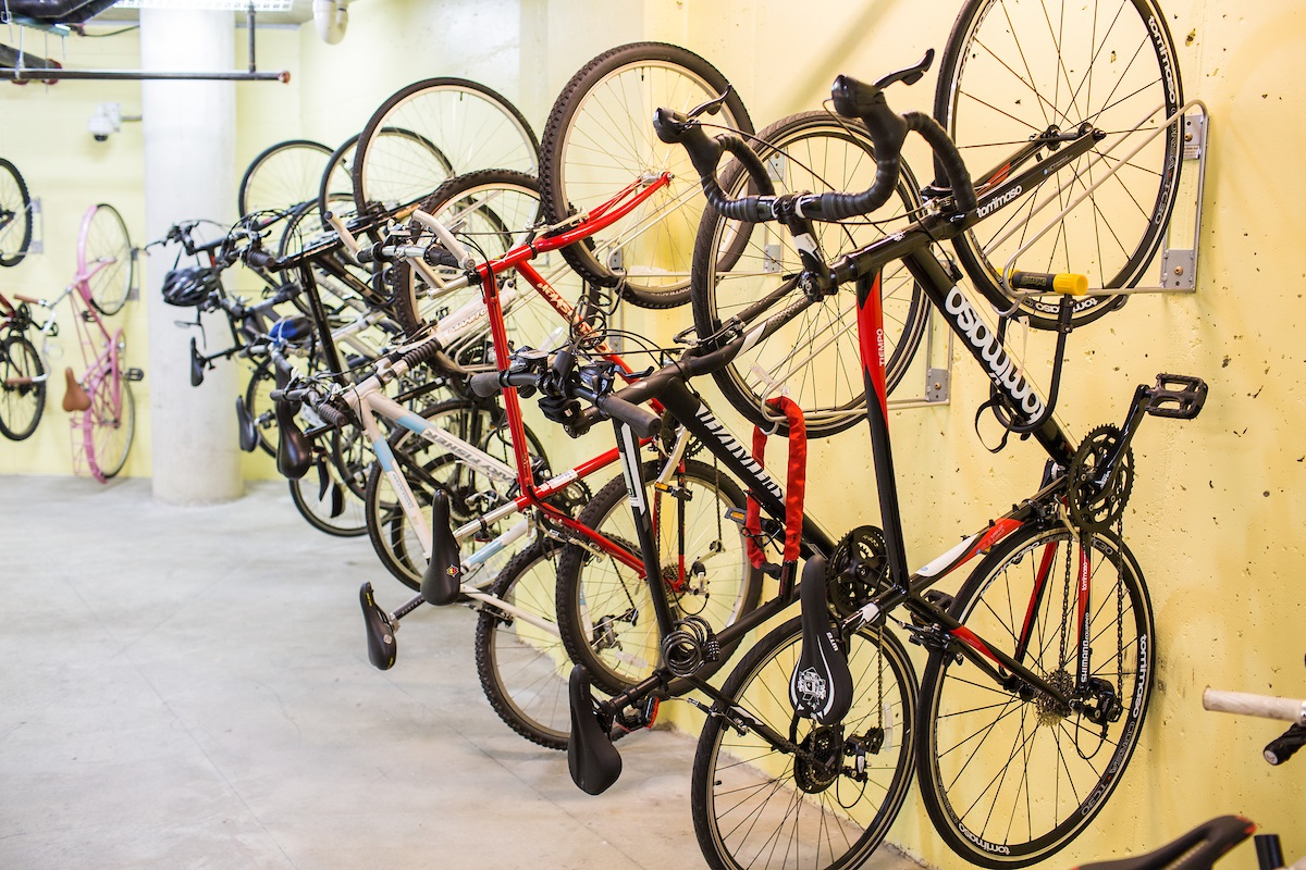 bikes-in-bike-room-on-wall