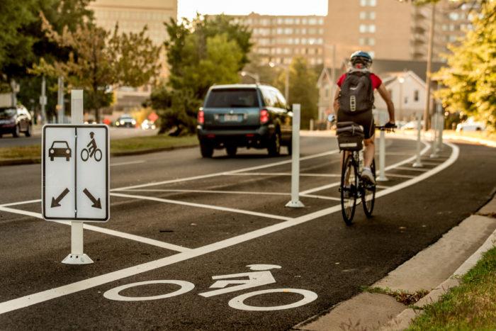 Biker In Bike Lane